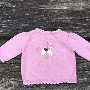 Gymboree Carousel Horse Ride Pink Sweater 0-3M